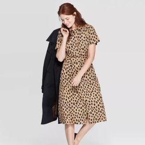 A New Day | Cheetah Short Sleeve Midi Shirtdress